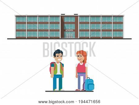 Welcome back to school. vector flat illustration isolated on white background