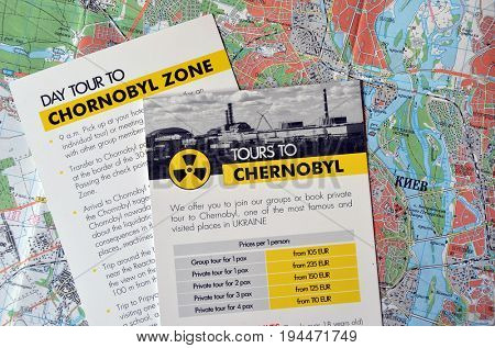 Illustrative Editorial.Comercial booklet of travel agency sugest tourism in Chernobyl Area.Tragedy as attraction.Kiev,Ukraine July 9, 2017