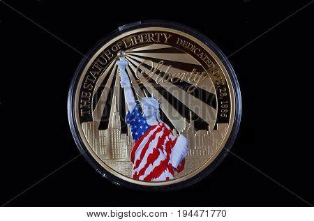 Illustrative Editorial.American commemorative coin.Special edition..Kiev,Ukraine July 9, 2017
