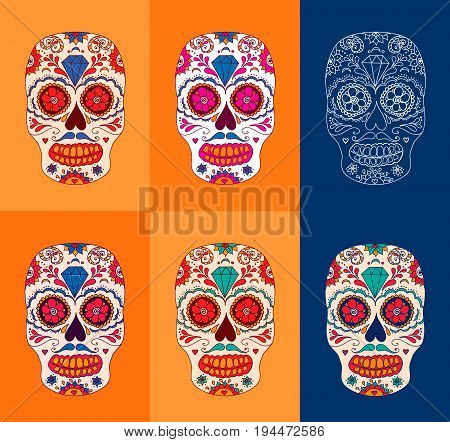 Day of the dead sugar skulls set. Mexican day of the dead. Dia de los muertos skull illustration. Colorful EPS10 vector. Easy editable.