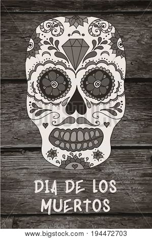 Vector sugar skull. Mexican skull. Day of the dead skull. Dia de los muertos skull illustration. EPS10 vector illustration with place for your text. Easy editable.