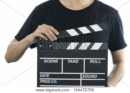 woman holding movie clapper on white background
