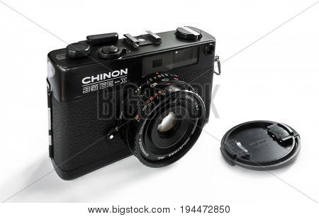 NACHOD, CZECH REPUBLIC - JULY 28, 2016: Vintage film 35 mm  camera Chinon 35EE-II, isolated on white background. Quality product, made in Japan in early 1980s.