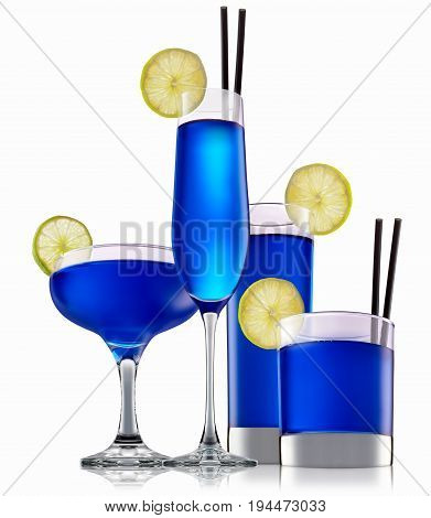 fresh fruit alcohol cocktail or mocktail in classic glass with blue beverage isolated on white background