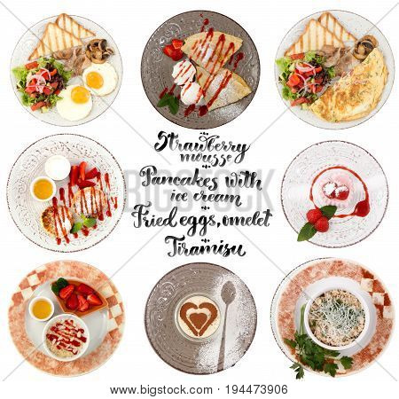 Flat lay style collage of various plates of meals. Top view. Omelet,  Fried eggs, Tiramisu, desert, Pancakes with ice cream, Cottage cheese, oatmeal, toasts, mousse