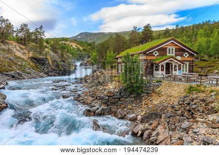 Norway Lom-view of the rapids of the Otta river.