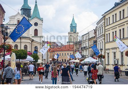 LUBLIN POLAND- 07 july 2017- city center with UE flags