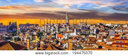 panorama of beautiful Porto over sunset .Portugal