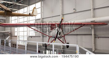Le Bourget Paris France- May 042017: Potez P.43/7 (1932) in the Museum of Astronautics and Aviation Le Bourget