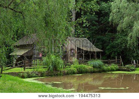 Cuttalossa Farm Sheep Barn, Water Wheel, Clapboard Cottage, and Pond in Bucks County, Pennsylvania