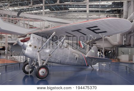Le Bourget; Paris; France- May 04; 2017: Dewoitine D.530 (1937) in the Museum of Astronautics and Aviation Le Bourget