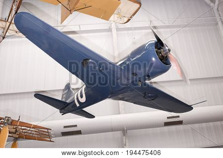 Le Bourget Paris France- May 042017: Potez 53/7 (1933) in the Museum of Astronautics and Aviation Le Bourget