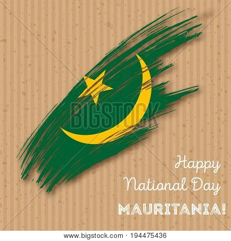 Mauritania Independence Day Patriotic Design. Expressive Brush Stroke In National Flag Colors On Kra