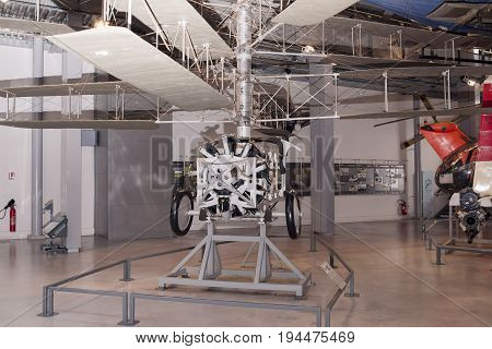 Le Bourget; Paris; France- May 04; 2017: Pescara - experimental machine (1925) in the Museum of Astronautics and Aviation Le Bourget