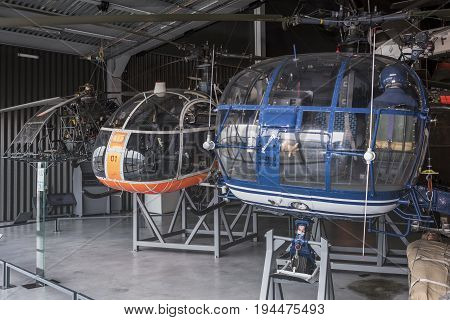 Le Bourget; Paris; France- May 04; 2017: Helicopters in the Museum of Astronautics and Aviation Le Bourget