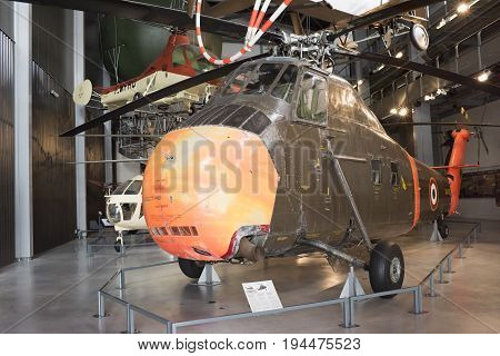 Le Bourget; Paris; France- May 04; 2017: Helicopter Sikorsky H-34A (1954) in the Museum of Astronautics and Aviation Le Bourget