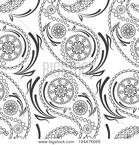 Seamless pattern of beautiful paisley cucumbers. Turkish, Indian, Persian, Mexican, African motif Vector illustration