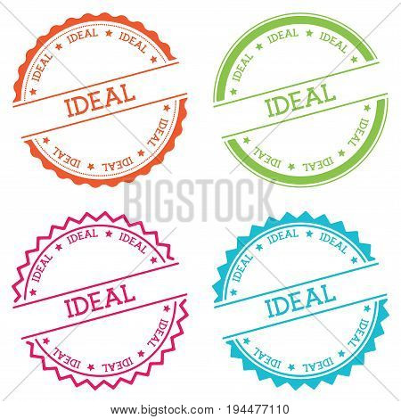 Ideal Badge Isolated On White Background. Flat Style Round Label With Text. Circular Emblem Vector I