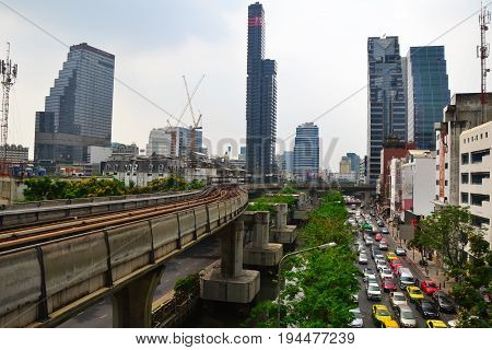 Bangkok, Thailand - May 2017: Bangkok cityscape from BTS