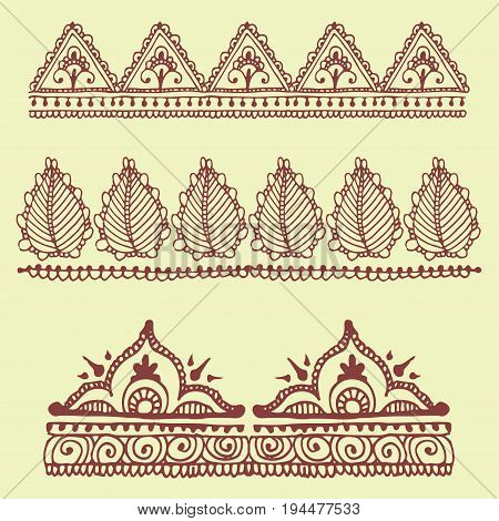 Henna tattoo brown mehndi flower template doodle ornamental lace decorative element and indian design pattern paisley arabesque mhendi embellishment vector.