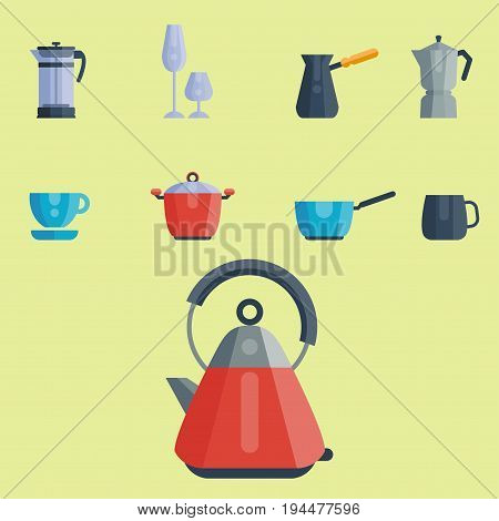 Kitchen utensils icons vector illustration household dinner cooking food kitchenware.