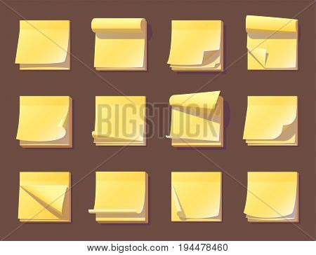 Yellow office sticky memory notes vector illustration