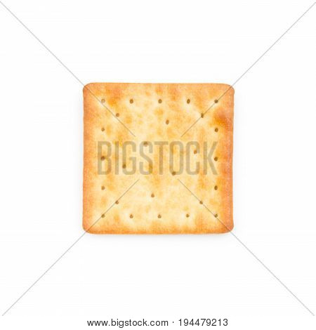 Fresh baked cream crackers isolated on white background (clipping path included)