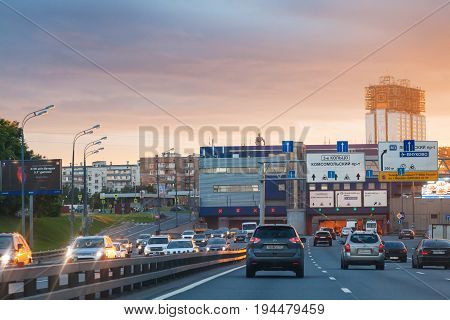 Car Traffic On Third Ring Road In Summer Sunrise