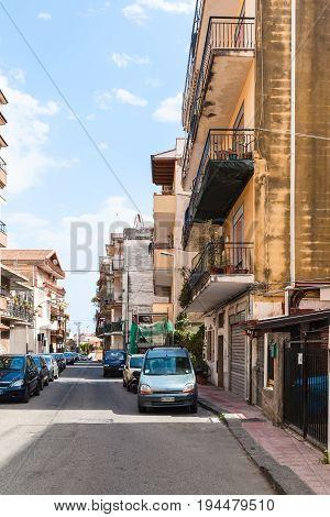 View Of Street Via Ischia In Giardini Naxos Town