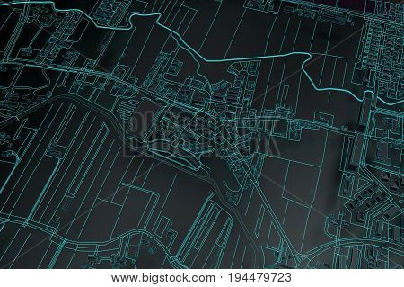 black cartography map city top view. 3d rendering
