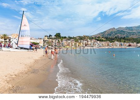Beach Near Waterfront Of Giardini Naxos