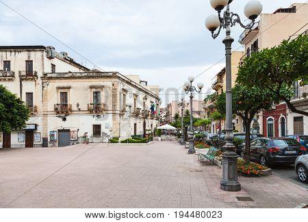 Piazza Municipio In Giardini Naxos Town