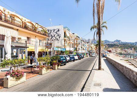 People Near Shops On Waterfront In Giardini Naxos