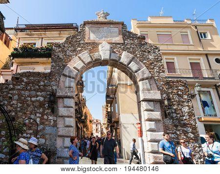 Old Gateway Porta Messina In Taormina City