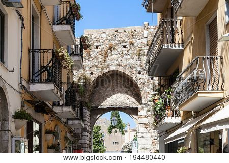 Medieval Arch Of Gateway Porta Catania In Taormina