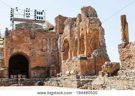 Ruined Walls Of Teatro Antico Di Taormina