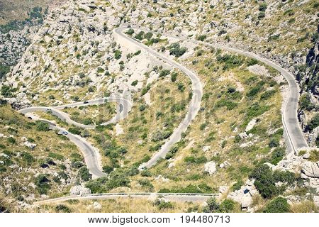 Mountain landscape with winding road