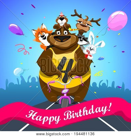 Animals on colorful background. bear on a bicycle with friends crosses the finish line. banner Happy Birthday. Shirt with number 4. vector illustration.