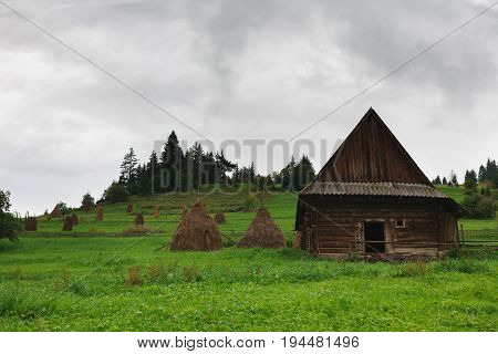 Country landscape. Haystacks and wooden hut on green meadow. Dull and cloudy weather in countryside, background