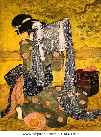 The Japanese girl sews from a fabric