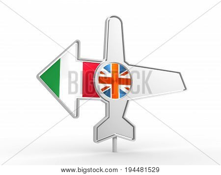 Emblem design for airlines, airplane tickets, travel agencies. Airplane icon and destination arrow. Flags of the Great Britain and Italy. 3D rendering