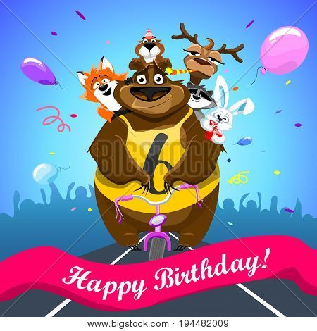 Animals on colorful background. bear on a bicycle with friends crosses the finish line. banner Happy Birthday. Shirt with number 6. vector illustration.
