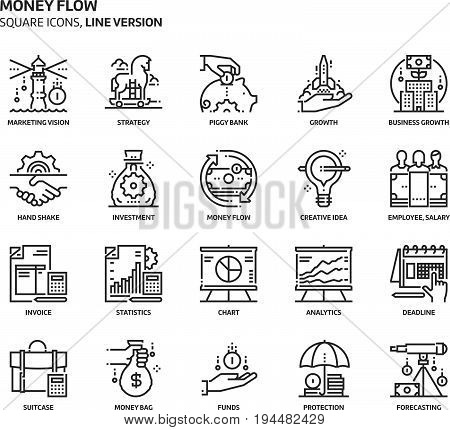 Money Flow, Square Icon Set.