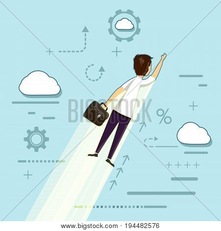 Businessman with a briefcase in his hand flies in the sky. Development and creativity in start-up. Success in work and employment. Stock Vector cartoon illustration.