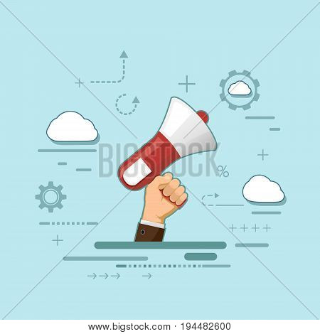 Man holds a megaphone in his hand. Icon of marketing and advertising. Democracy and elections. Stock vector illustration in style of flat line graphics.