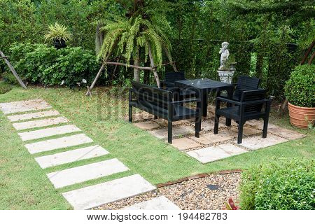 Furniture black chair and table decoration for outdoor garden