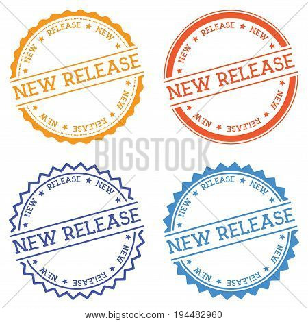 New Release Badge Isolated On White Background. Flat Style Round Label With Text. Circular Emblem Ve