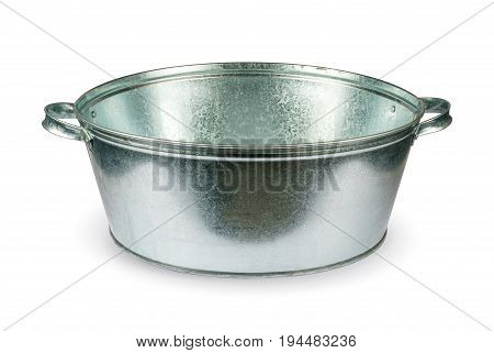 Zinc bath for the bath isolated on white background with clipping path.