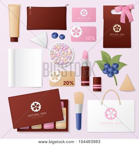 Cosmetics Shop Corporate Identity Template Set. Woman Beauty Stationary Mockup. Personal Branding. Vector illustration