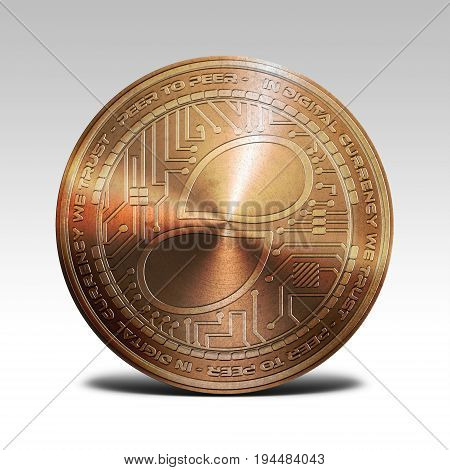 copper status coin isolated on white background 3d rendering illustration
